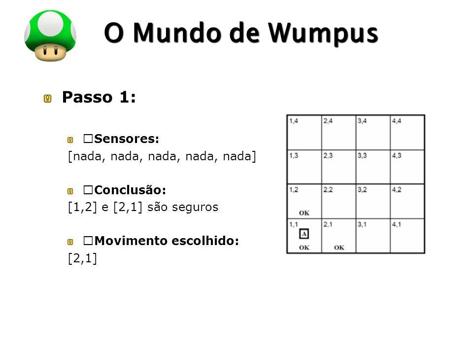 """O Mundo de Wumpus Passo 1: """"Sensores: [nada, nada, nada, nada, nada]"""